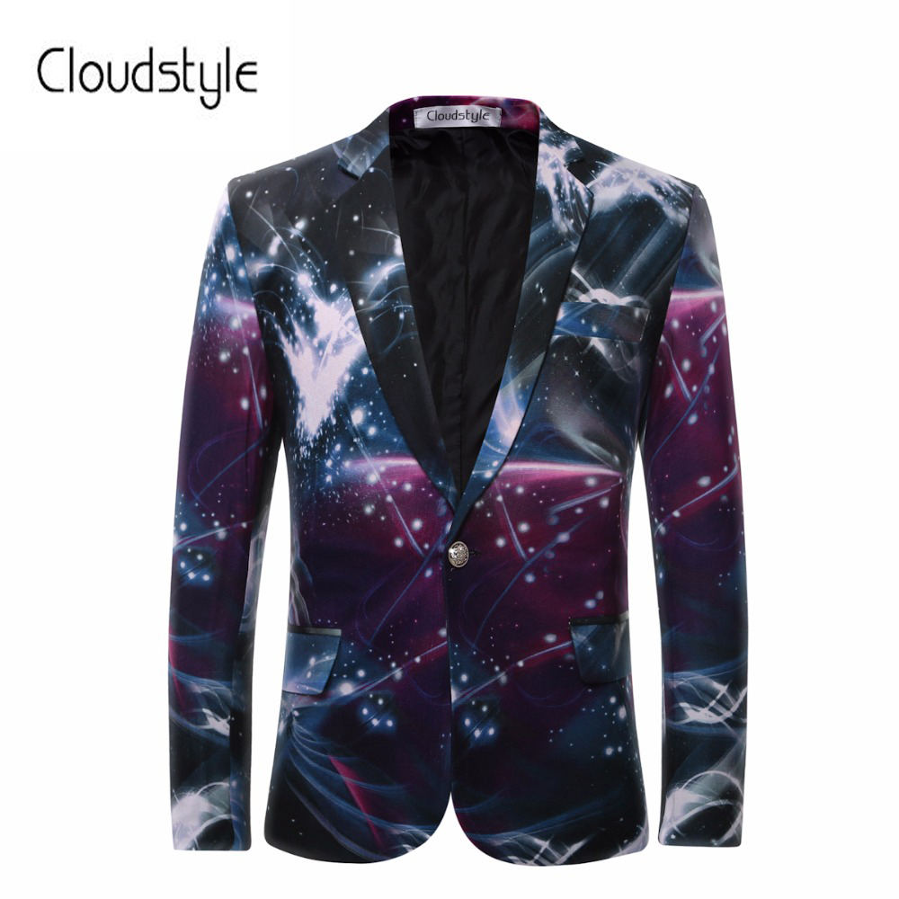 Cloudstyle 2018 Hommes Blazers de Galaxy Imprimé D'affaires Décontractée Costume Formel Marié smokings De Mariage Robe Belle Conception Costumes