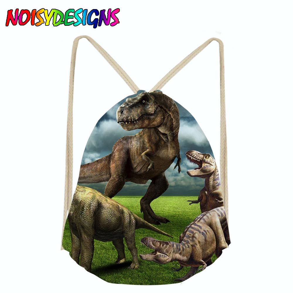 Drawstring Bag Kids Dinosaur Bags 3D Animal Tyrannosaurus Printing Men Backpack String Shoulder Bags For School Boys Casual Bags