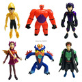 New arrivel 6pcs/lot 10cm Big Hero 6 Baymax Anime Figure Kids Toys Rocket Fist Role Play Nice Christmas Gift Free Shipping