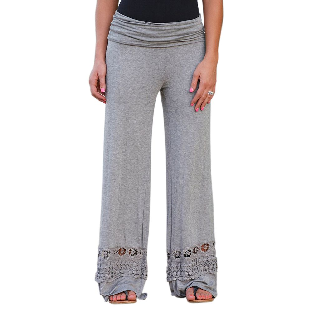 Women Fashion Solid Color High Waist Loose Wide Leg Long Pants Ladies Casual Lace Patchwork Hollow Out Knitted Trousers