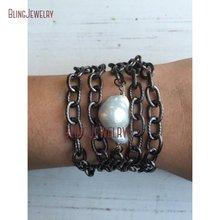 Белый Пресноводный барочный жемчуг бронзовая цепочка обертывание браслет обертывание ожерелье NM18369