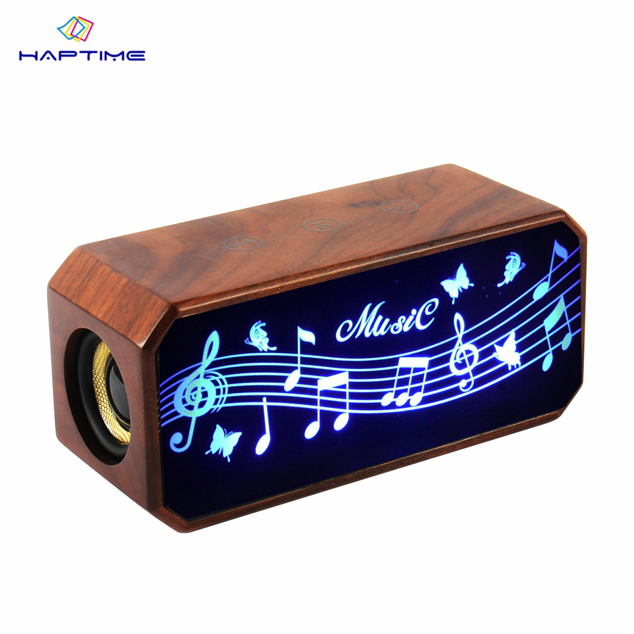Haptime Touch The Bluetooth Speakers Multi Function Wooden Speakers Full Frequency Stereo Speaker Support TF Card