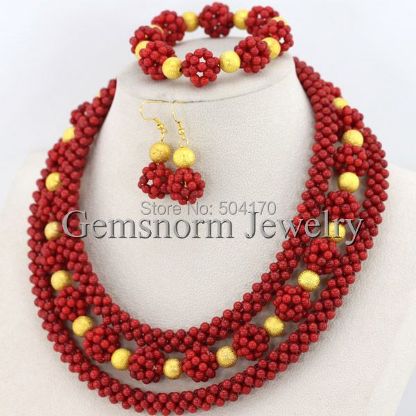 2017 Red Coral Bead Sets Jewelry Latest Design Nigerian Beads