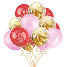 15Pcs Blue Pink 2nd Birthday Latex Balloons 2 Year Old  Number Balloon Kids Happy Party Decoration Confetti Ballons