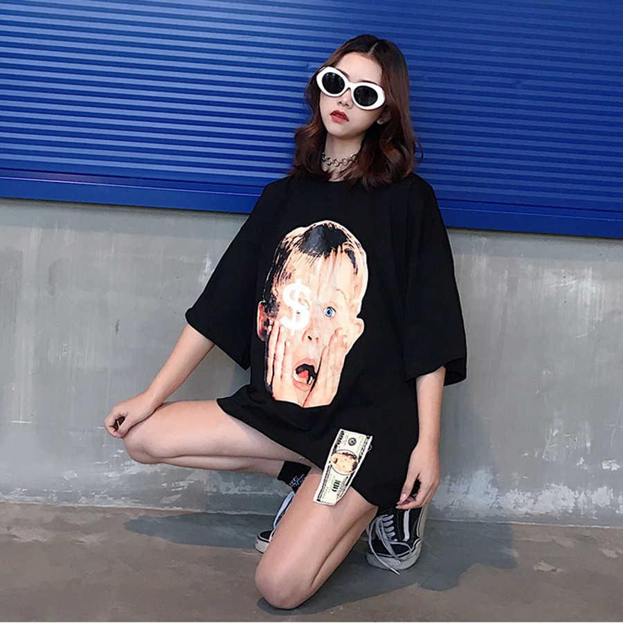Harajuku หลวมเสื้อยืดผู้หญิงแบบสบายๆ Tshirt ริบบิ้นฤดูร้อน Plus ขนาด Streetwear Hip Hop เกาหลีสไตล์เสื้อ T ผู้หญิงเสื้อ 50F035