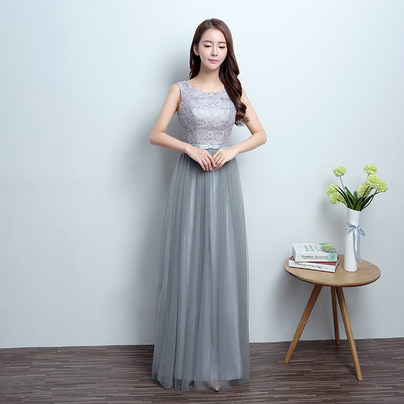 U-SWEAR 2019 New Arrival Women   Bridesmaid     Dresses   O-Neck Sleeveless Lace Sequined Beaded Gray Chiffon   Bridesmaid     Dresses