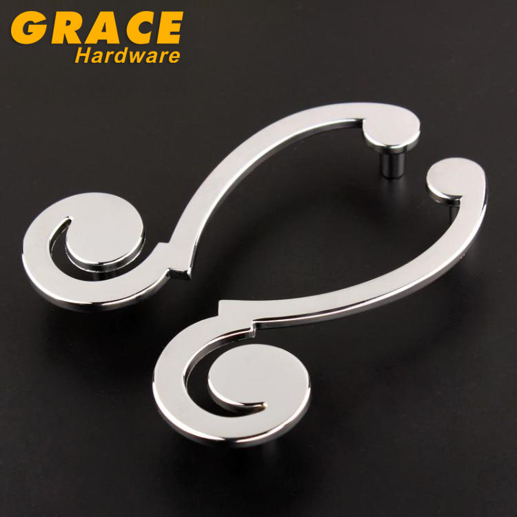 New Art  Chrome Cabinet Furniture Wardrobe Door Knob Drawer Cabinet Hardware Shake Handle(C.C.:96mm L:122mm) 1 pair 4 inch stainless steel door hinges wood doors cabinet drawer box interior hinge furniture hardware accessories m25