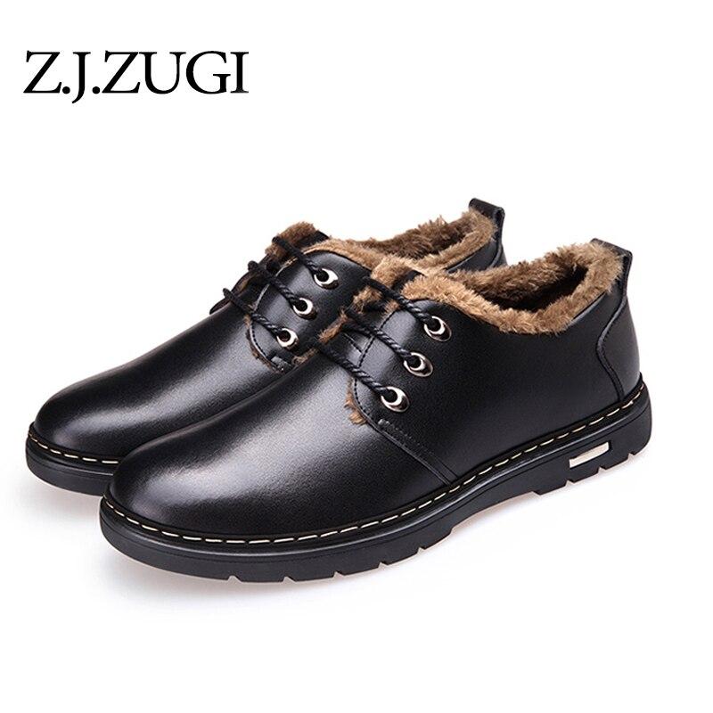 Z.J.ZUGI Brand 2018 Winter shoes new men's daily casual shoes  cotton  warm plus velvet pu material big size 39-44shoes for men