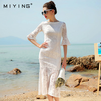 MIYING 2017 Summer Dress Lace Slash Neck Hollow Out O Neck Embroidery Mermaid Dress