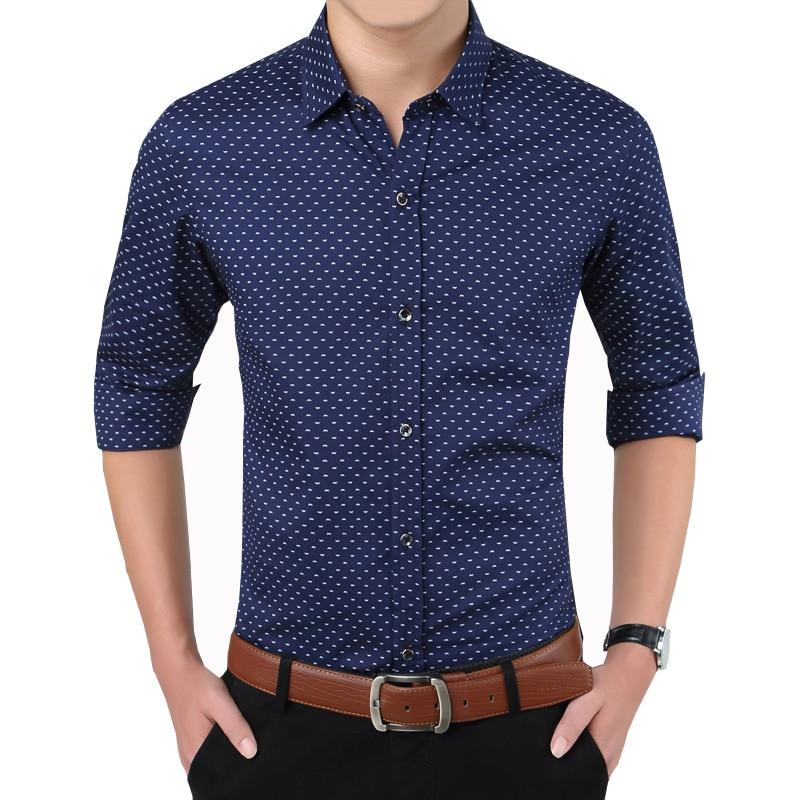 Nueva marca de moda de otoño camisas de impresión Slim Fit camisa - Ropa de hombre - foto 1