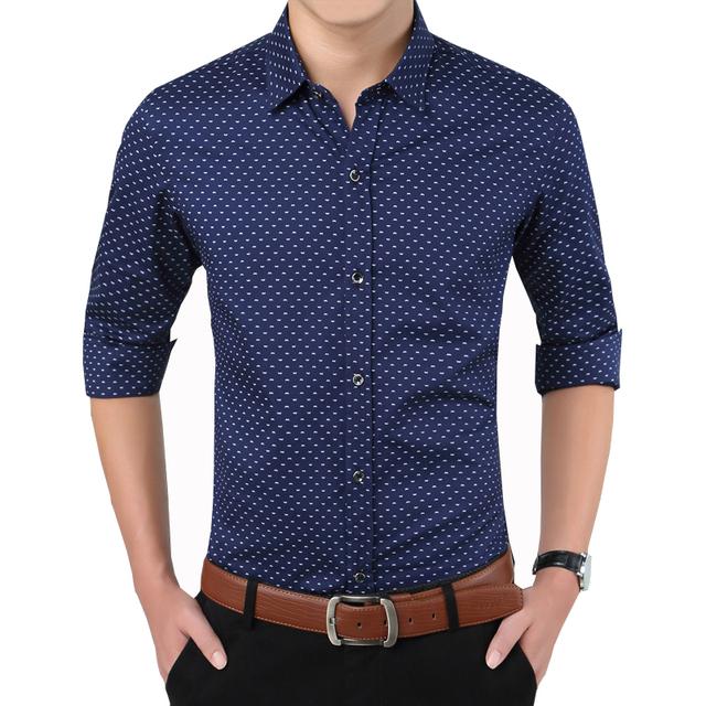 Outono nova Marca de Moda de Impressão Camisas Slim Fit Camisa Dos Homens Vestido de Manga comprida de Algodão Casual Mens Camisas Formais Dos Homens Sociais camisas