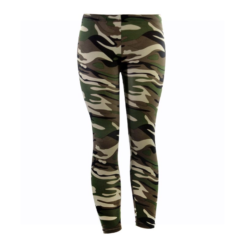 Army Green Camouflage Printed Leggings For Women Slim Stretch Pencil Pants High Waist Trousers High Elastic Summer Leggings