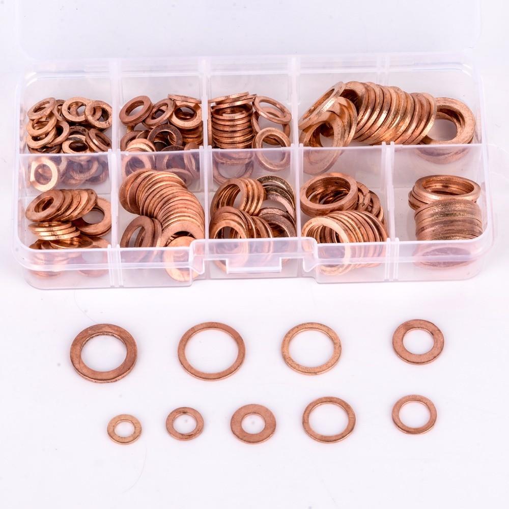 200 stücke Kupferscheiben Dichtungssatz Flache Ring Dichtung Sortiment Kit M5-M14 mit Box Für Hardware Zubehör