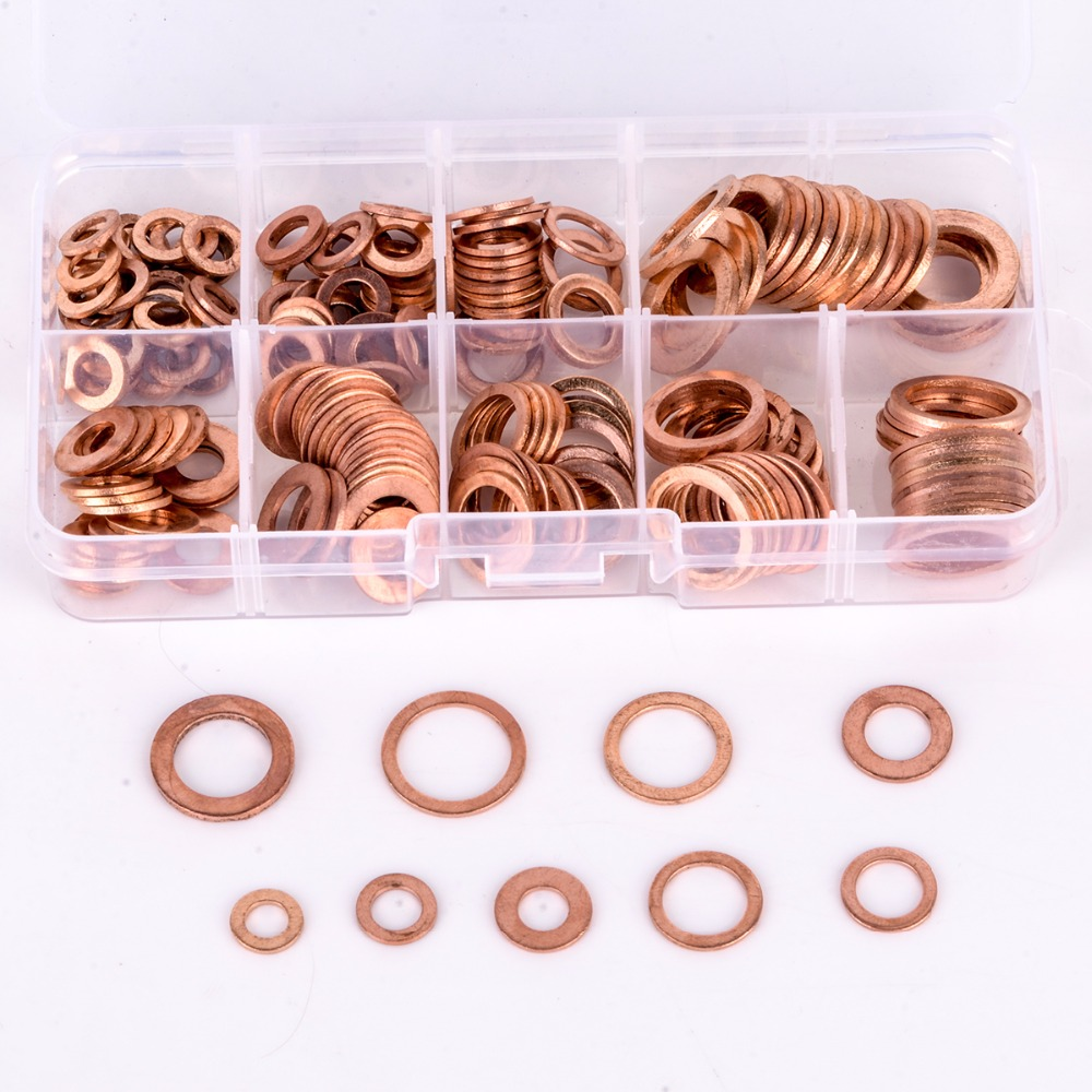 200pcs Copper Washers Gasket Set Flat Ring Seal Assortment Kit M5-M14 with Box For Hardware Accessories super quality guarantee brand new runing x79 gaming motherboard cpu intel xeon e5 2640 v2 2 0ghz memory 16g 4 4g ddr3 reg ecc