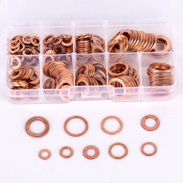 200pcs Copper Washers Gasket Set Flat Ring Seal Assortment Kit M5 ...