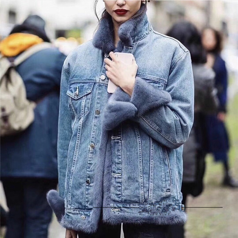 Mink Fur Women Coats 2019 Winter Fashion Natural Real Mink Fur Down Inner Bladder Jacket  Female Outerwear Denim Multiple Colors