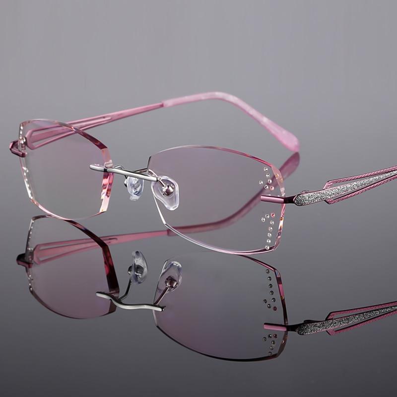 Rimless Glasses Prescription Glasses Titanium frame Women 39 s Optical glasses Myopia Hyperopia Progressive prescription j01 in Women 39 s Prescription Glasses from Apparel Accessories
