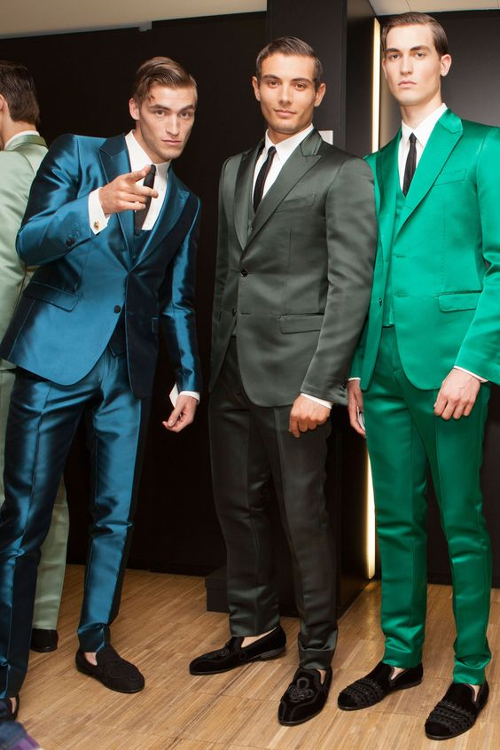 Latest Coat Pant Designs Blue Green Satin Men Suit Slim Fit 3 Piece Tuxedo Prom Blazer Custom Groom Prom Suits Terno Masculino