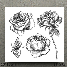AZSG Lifelike Rose Flowers Silicone Clear Stamps For Scrapbooking DIY Clip Art /Card Making Decoration Crafts