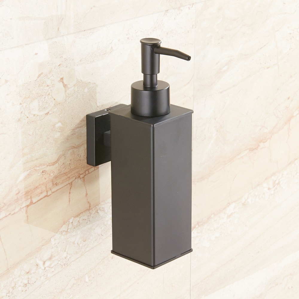 Image 3 - Stainless steel soap dispenser hand Liquid Soap Dispenser squeeze wall mounted hotel bathroom kitchen square design-in Liquid Soap Dispensers from Home Improvement