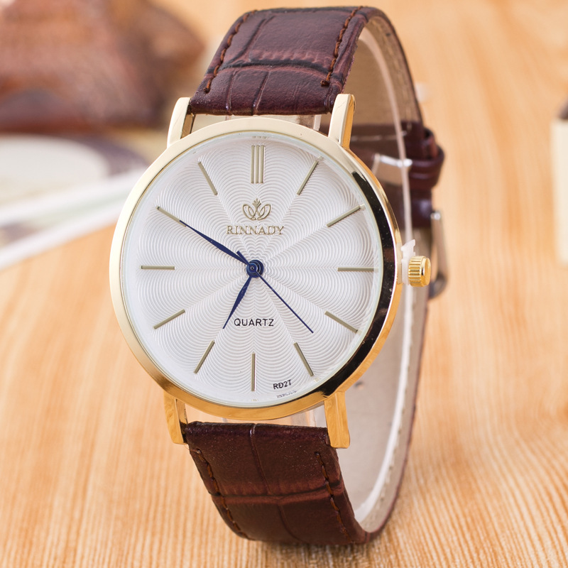RINNADY Quartz Watch Men Watches Brand Luxury Famous Wristwatch Male Female Clock Faux Leather Quartz-watch Relogio Masculino