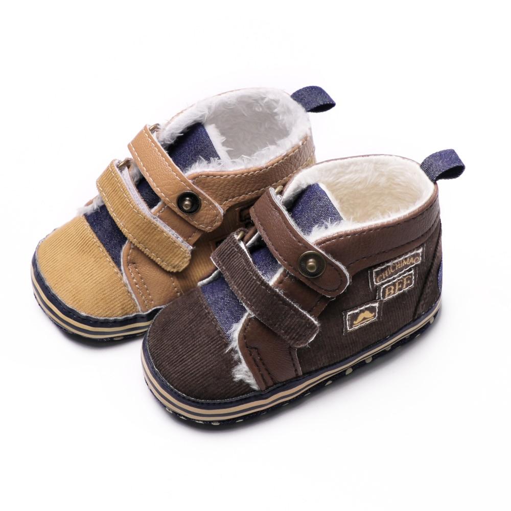 Toddler First Walkers Baby Booties Canvas Winter Warm Fleece Snow Shoes Solid Newborn Boy Girls Shoes Prewalkers 0-18 Months