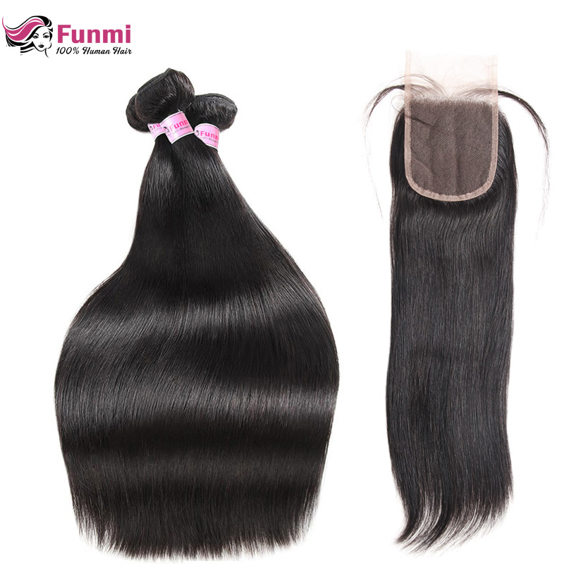 Indian Straight Virgin Hair Bundles with Closure 4PCS LOT Unprocessed Human Hair Bundles with Closure Free Middle Three Part