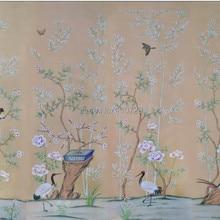 Украшение расписанный вручную шелковый обои ручная роспись бамбук с птицами и деревьями с цветами много фотографий по желанию