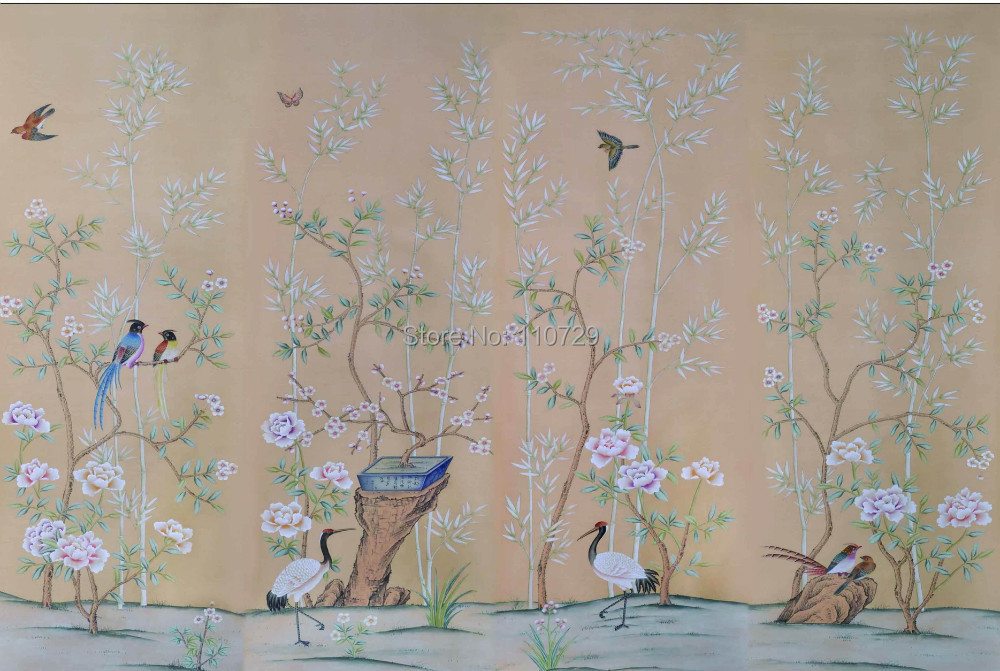 Decoration Hand painted silk wallpaper HAND-PAINTED painting  bamboo with birds and trees with flowers many pictures optional us au standard touch wall switch 1 gang with crystal tempered glass panel and blue led backlight