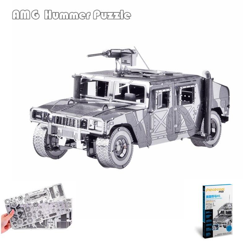 Piececool 3D Métal Puzzle de AMG Hummer Militaire BRICOLAGE Modèle Kits Métal Terre 3D Blindé Voiture Puzzle BRICOLAGE Pour Enfants Éducatifs jouets