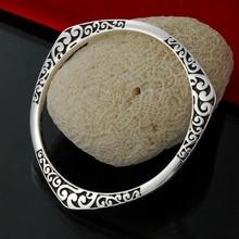 925 Tibet silver Round Triangle flower make letter design black Nation style full cuff bracelet bangle for women/men's wholesale sweet rhinestoned letter s pattern design triangle ring for women