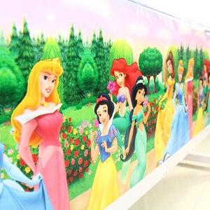 Image 1 - 108 × 180 センチメートル王女テーブルクロスキッズガールズ誕生日パーティーの装飾大人パーティー用品 anniversaire