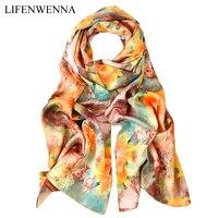 2019 люксовый бренд женский шелковый шарф китайский стиль 100% шелк Модные Дизайнерские шарфы женский длинный цветок Чистый Solft шелковые шали