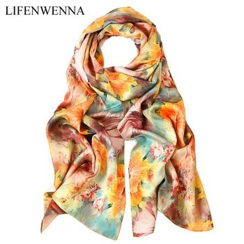 92164f374957 2019 роскошный бренд женский шелковый шарф в китайском стиле 100% шелковые  Модные Дизайнерские шарфы женские длинные шелковые шали
