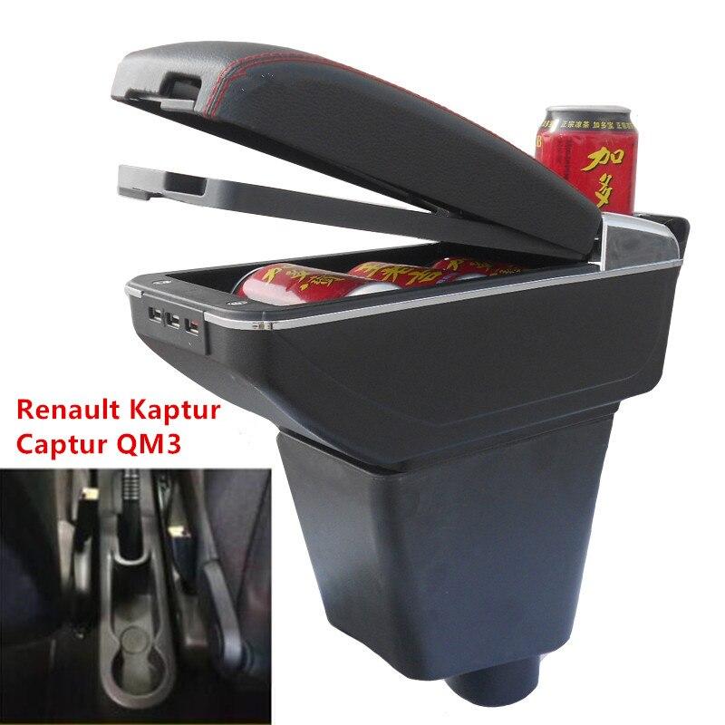 Para Renault Captur Kaptur QM3 caixa Armazenar conteúdo caixa apoio de braço central suporte de copo do carro interior-styling Acessórios parte 14 -17