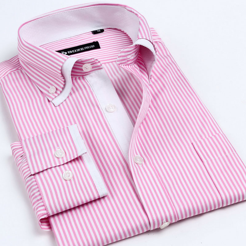 2017 NEW men's Long sleeved shirt double collar Button down casual dress shirts men hight quality spring summer business striped