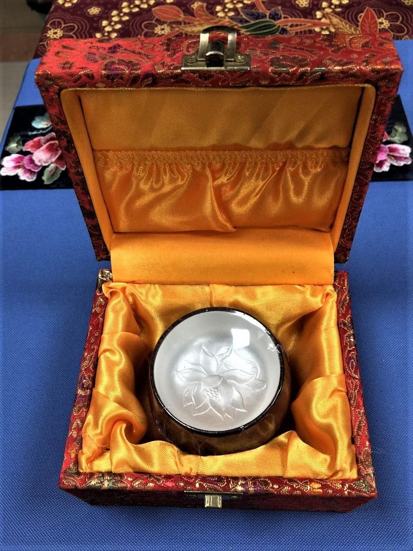 Mahogany Silver Inlay Tea Cup Pure Silver Fish Lotus Mug Travel Wood - Kjøkken, spisestue og bar