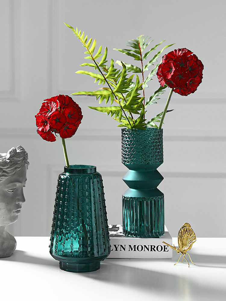 Creative Nordic style modern glass vase Decoration living room Hydroponic flower arrangement Emboss blue Home Decoration