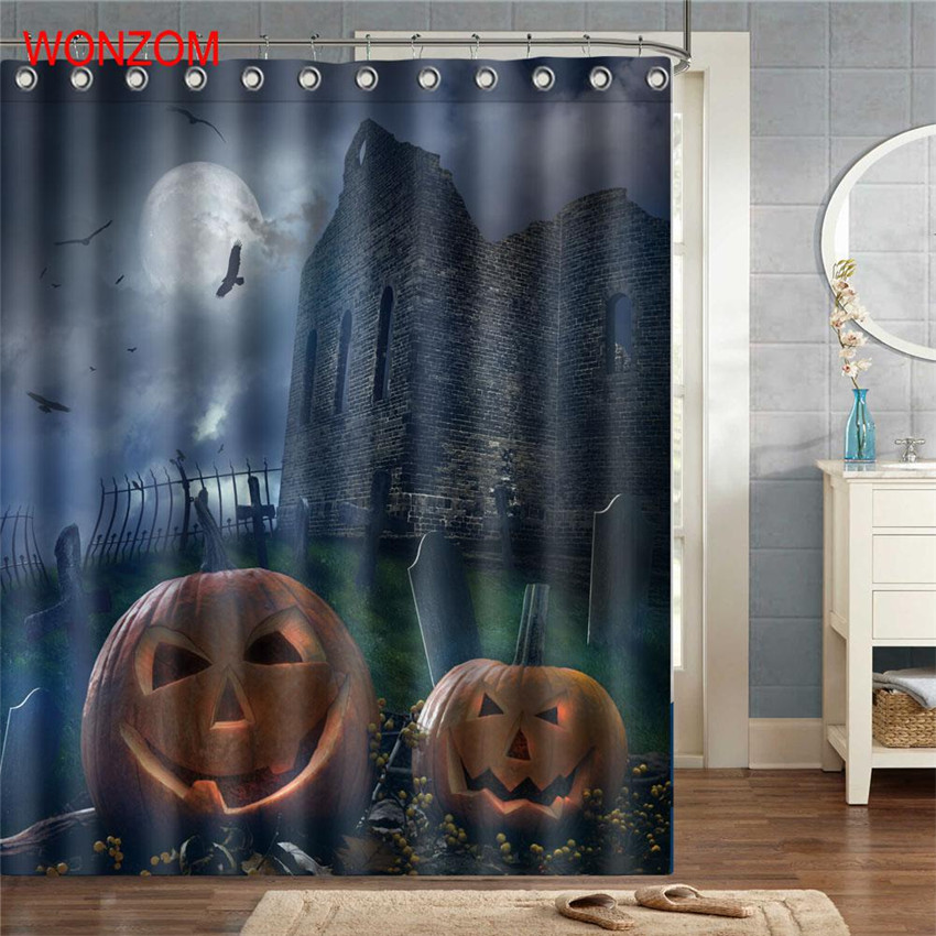 WONZOM Moon And Pumpkin Curtains with 12 Hooks For Bathroom Decor Modern Halloween Bath Waterproof Curtain Bathroom Accessories in Shower Curtains from Home Garden