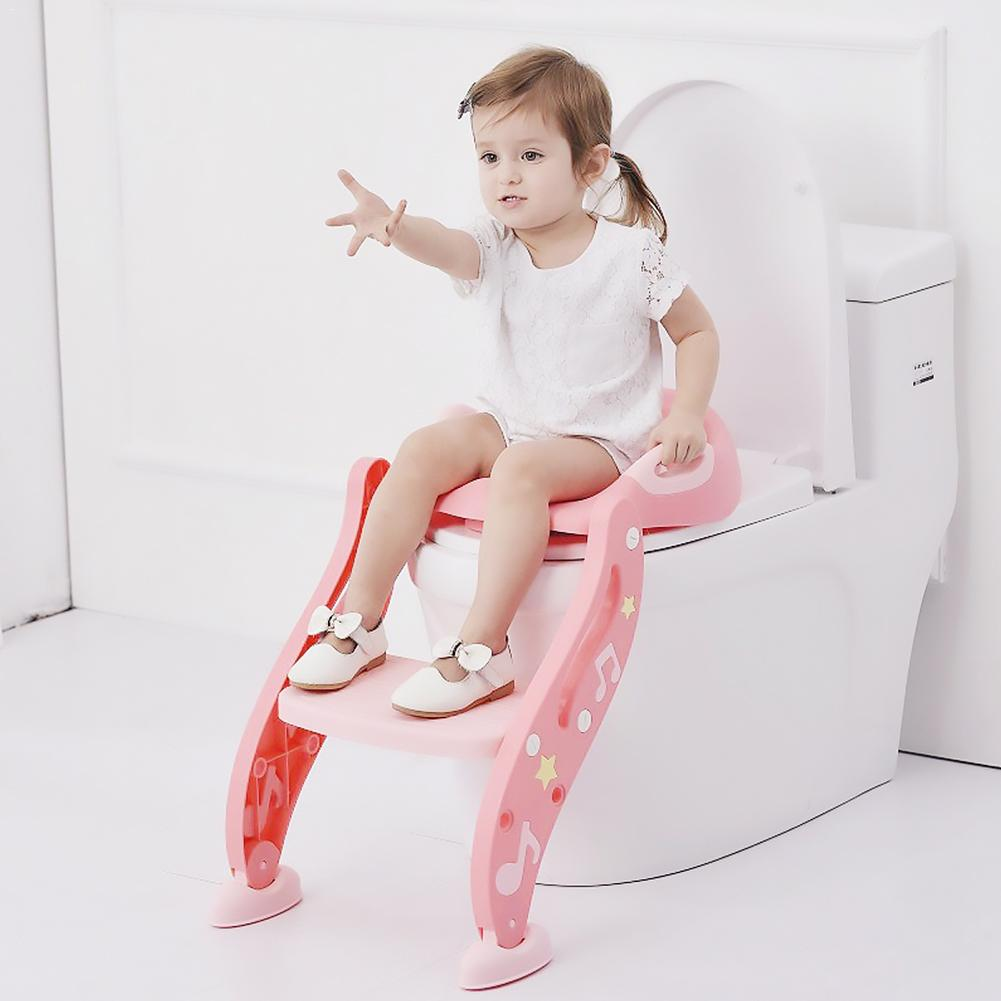 Folding Baby Potty Infant Kids Toilet Training Seat with Adjustable Ladder comfortable backrest cartoon cute pot
