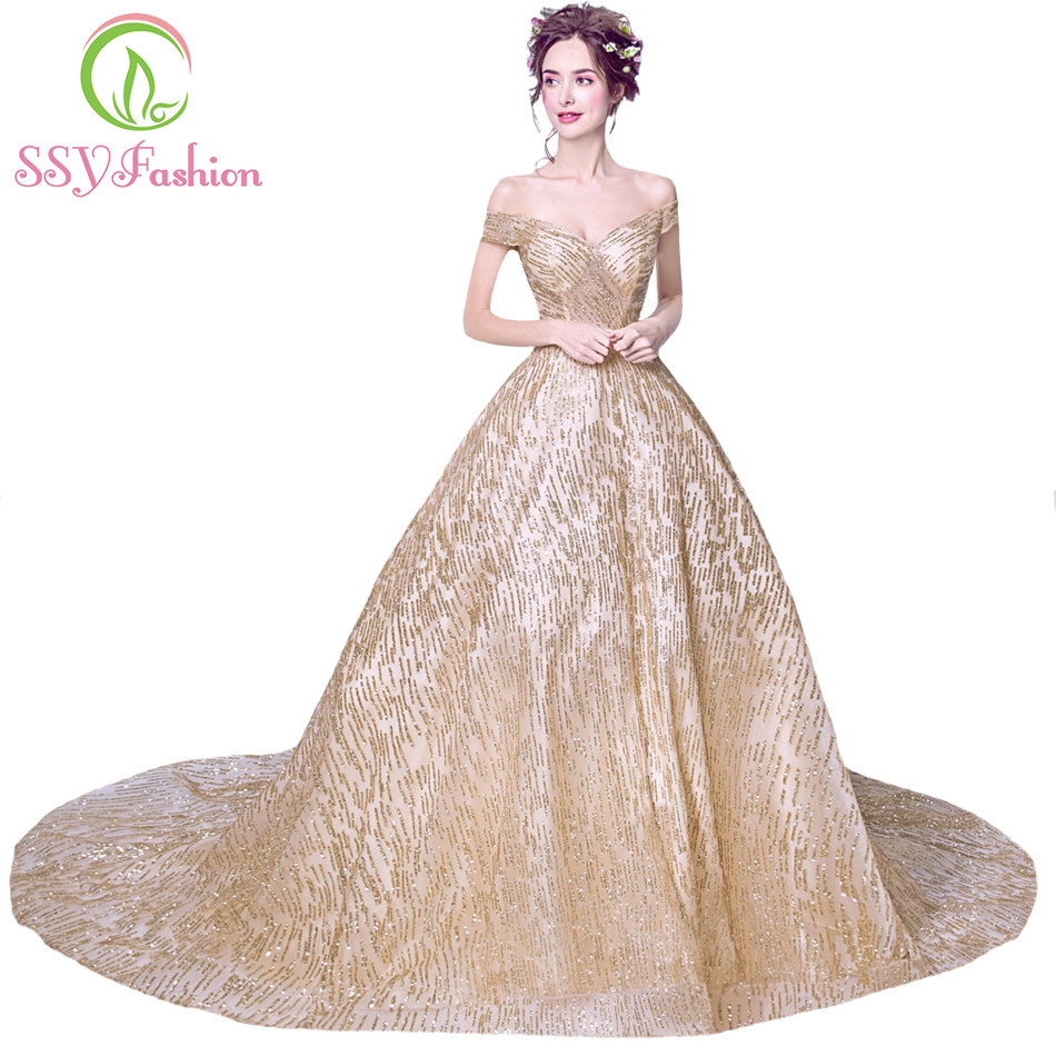 SSYFashion New Luxury Gold Evening Dress The Bride Banquet Elegant Long  Tailed Sweetheart Prom Party Formal 25f39eebc