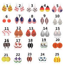 New Sports PU Leather Earrings Baseball American Germany National Flag Shaped Football Soccer Basketball Softball Drop