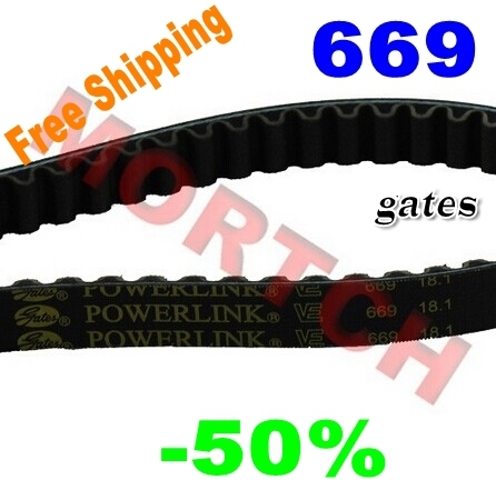 (High Quality NEW) Original Gates PowerLink Belt 669 18.1 v clic for 4 stroke engines for Scooter ATV Moped (Free Shipping)