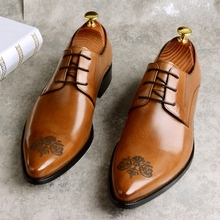 Handmade High-end Business Casual Shoes Vintage Men Pointed Genuine Leather Wedding Fashion Mens Designer Embossed