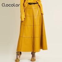 Clocolor امرأة الجلود تنورة زائد الحجم السببية فضفاض الصلبة الخريف ألف خط طويل الرقص تنورة أنيقة الإناث 2017 أزياء المرأة تنورة