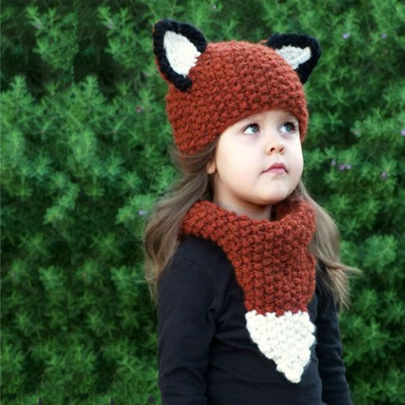 2017 New Style Children Knitted Cartoon Animal Fox Hand Weaving Hat Collar Two Pieces Of Sleeve For Kids Keep Neck Warm the new children s cubs hat qiu dong with cartoon animals knitting wool cap and pile