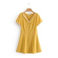 Новое поступление женское желтое мини-платье с кружевным краем тонкие платья с v-образным вырезом с коротким рукавом однобортные повседнев...