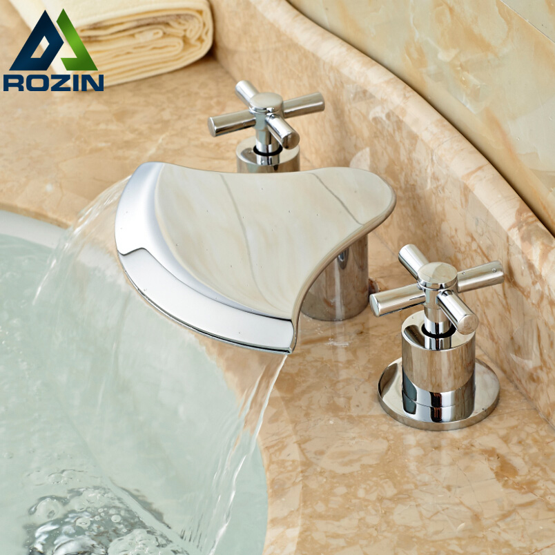 Bathroom Waterfall Double Handles Widespread Basin Mixer Faucet Deck Mount Brass Mixers Tap Chrome Finish