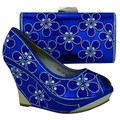 Italian shoe with matching  bag decorated with glitter ladies shoe and bag to match set 4colors african shoes and matching bag