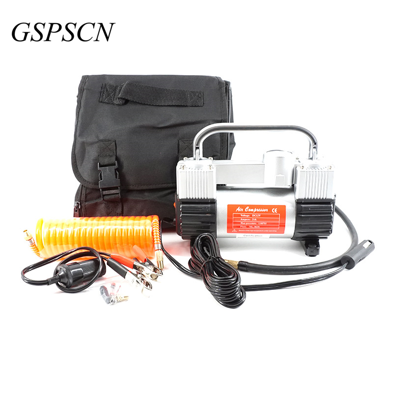 ФОТО GSPSCN Low Noise Double Cylinder Car Air Compressor Car Tire Inflatable Pump for Car Emergency With Handbag 1 Year Warranty